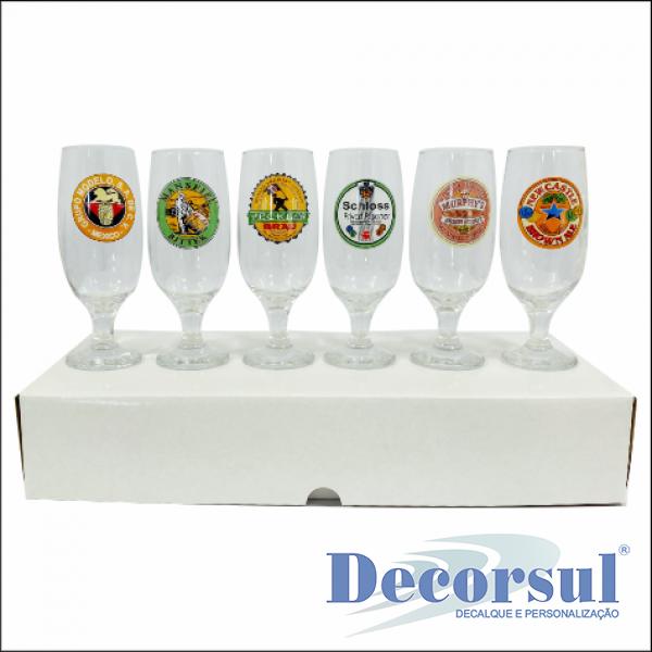 Jogo de 6 taças floripa 300ml personalizado caixa papelão