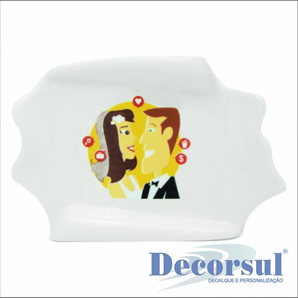 Pergaminho de porcelana personalizado 6,5cm x 9cm