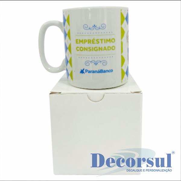 Caneca porcelana personalizada modelo chocolate 300ml com caixa individual de papelão
