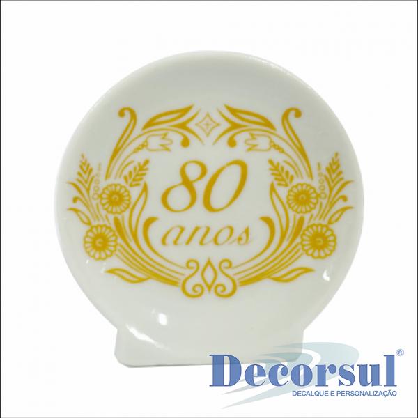 Pratinho com pé de porcelana personalizado 6,5cm x 6,5cm