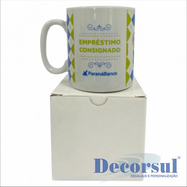Caneca porcelana chocolate 300ml  personalizada com caixa papelão branca